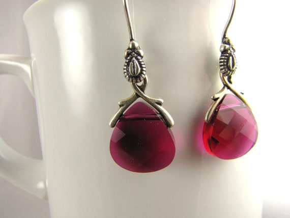 cute fuchsia crystal and antique silver dangle earrings