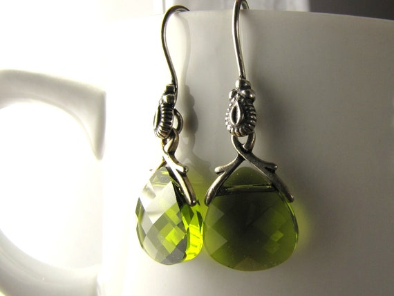 cute peridot green crystal and antique silver dangle earrings
