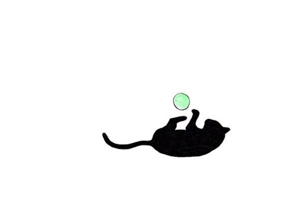 Simple cat drawing cute small art print cat plays ball for Small art drawings