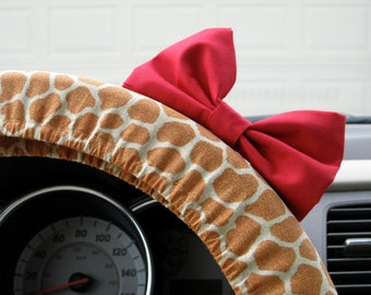 Steering Wheel Cover Bow, Giraffe Steering Wheel Cover with Red Bow BF11218