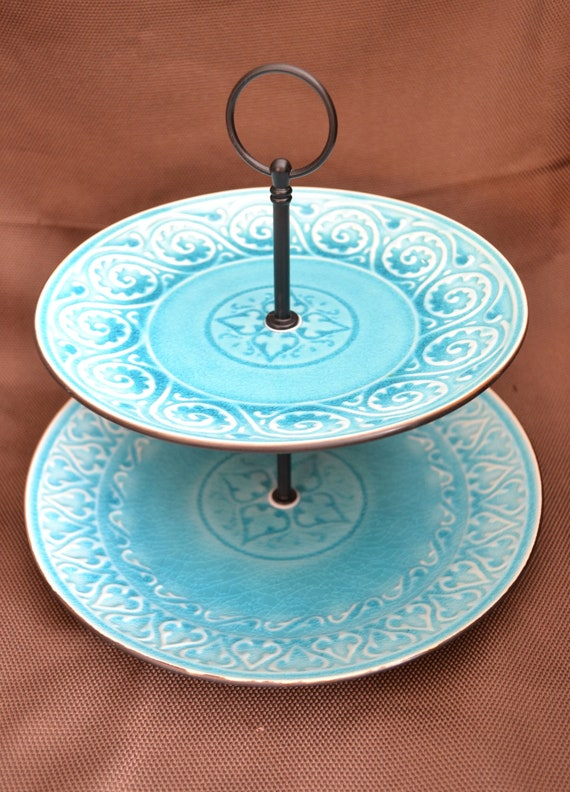 2 Tier Modern Turquoise Porcelain Cake Tea Stand Weddings, Tea Parties, Showers, Display FREE shipping