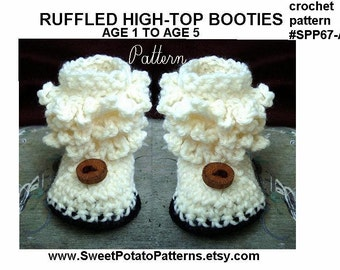 Instant Download PDF Crochet Pattern -Toddler Booties- Slippers, age 1 to 5,  SPP67-A