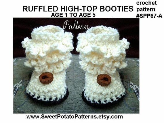 Crochet Patterns Pdf Free Download : Instant Download PDF Crochet Pattern -Toddler Booties- Slippers, age 1 ...