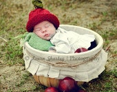 Apple Baby Hat: ready to ship in 0-3 month size.