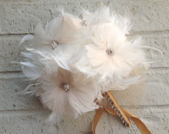 IVORY COUTURE Feather Bouquet Pomander - Feathers Flowers and Crystal Vintage Wedding Custom Bridesmaid Bouquets Small White Champagne Gold