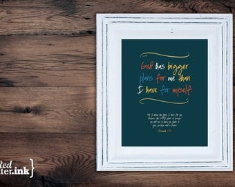 Wall Art (LifePrints) - Bigger Plans (navy, cadmium red, mustard, blue, creme) Jeremiah 29:11 - 8 x 10 Print