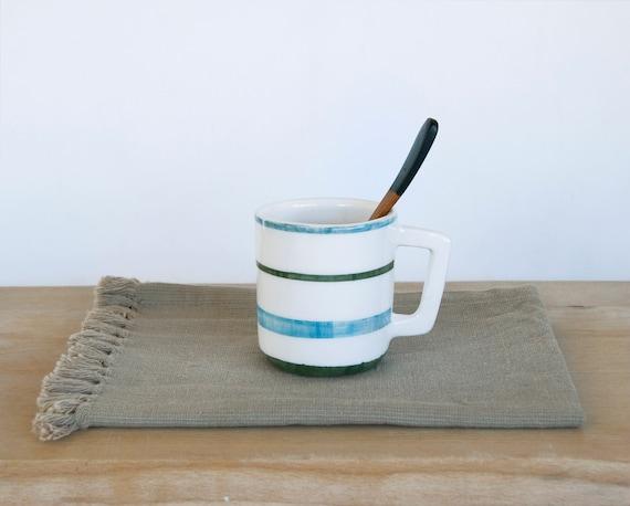 Coffee mug/ Gift for man/ Breakfast mug/ cereal mugs/ blue,green, brown stripes/ Cups & Mugs Viruset Studio