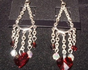 Valentine Red Swarovski Heart Earring with sterling silver ear wire