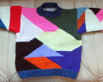 Patchwork Sweater - Child Size 6 - Hand Knit Original Intarsia Bright Colors Jumper - Matching Doll Sweater Available - Item 3012