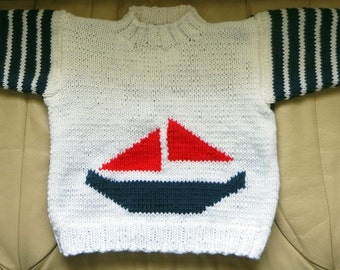 My Little Sailboat Hand Knit Nautical Sweater - Child Size 4 to 5 - Red White Blue Slipover Boy or Girl Sweater - Child Jumper -  Item 3010
