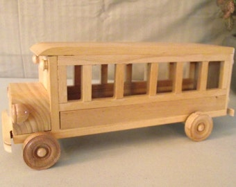 Reclaimed Large Wooden Toy Bus WITH REMOVEABLE TOP for Children Kids Boys Eco friendly Car Natural Unpainted Organic