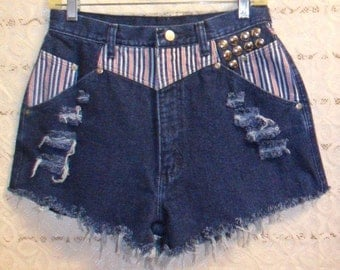 Vintage Wrangler  High Waisted  Denim Shorts - Studded- Red-White-Blue Striped- Waist 29  inches