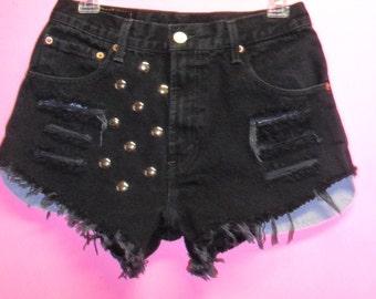 High Waisted Levis Black  Denim Shorts -Pink Leopard Print-- Studded---Waist  28  inches