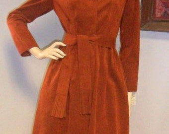 Vintage 70s Roth Le Cover Faux Ultra Suede Dress Sz 4  ---Machine washable