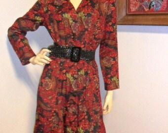 Vintage Nina Piccalino Floral Print Dress Button Down Sz 8
