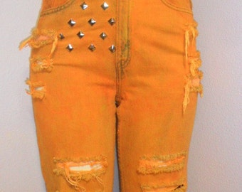 Levis Orange Hand Dyed Distressed ---STUDDED--- Denim Jeans Waist  28  Inches