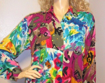 Vintage Colorful Button Down  Rayon Shirt with sequin detail Sz Medium