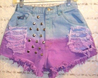 Vintage Lee High Waisted Hand Dyed Denim Shorts - Studded--Waist 27 inches