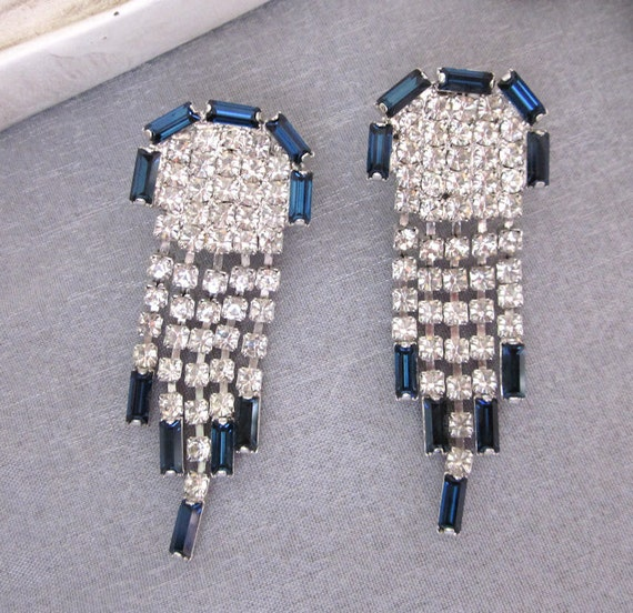 Dramatic 1950's Statement Rhinestone Earrings - Dangle Sapphire Blue, Clear Drippy Party Fashion Jewelry - JryenDesigns