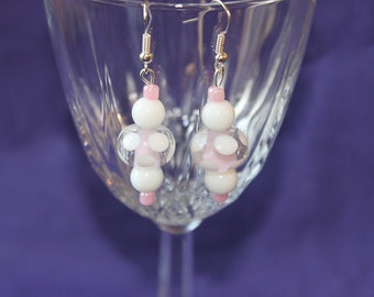 Bright Pink and White Dangle Earrings