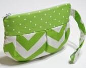 Wristlet, Purse, Pouch, Handbag, Wrist Bag, Pleated Pouch with Strap, Wristlet Purse, Makeup Pouch, Small Bag - Lime Chevron