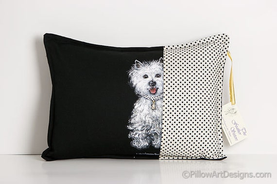 Decorative Thow Pillow Cover Black White Terrier Dog Hand Painted Accent