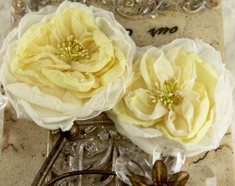 Parfait Collection - Butter cream 547226 Sheer silk fabric flowers with stamen - large yellow flowers flat back