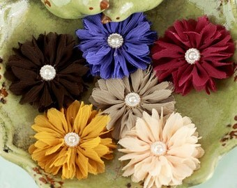 NEW  Fabric Flowers - Cabaletta D Fall -  561741 -  small sheer  layered fabric flowers with pearl  embellishment center accent