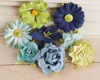 Prima  flowers -  Soubrette blue and green   561611 -  mulberry paper flowers - mix of daisies roses lilies and more