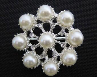 "Crystal Pearl button brooch - 1.25"" silver rhinestone Pearl Rhinestone Flower Hair Comb Clip Brooch Bouquet Jewelry  - vintage Annabel SB10"