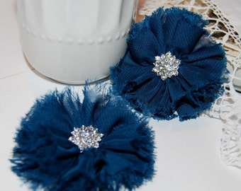 "set of 2 Navy Chiffon Fabric flowers 2.5"" Shabby Frayed Fabric flowers Ballerina flowers hair Flowers Vintage Candace wholesale flowers"