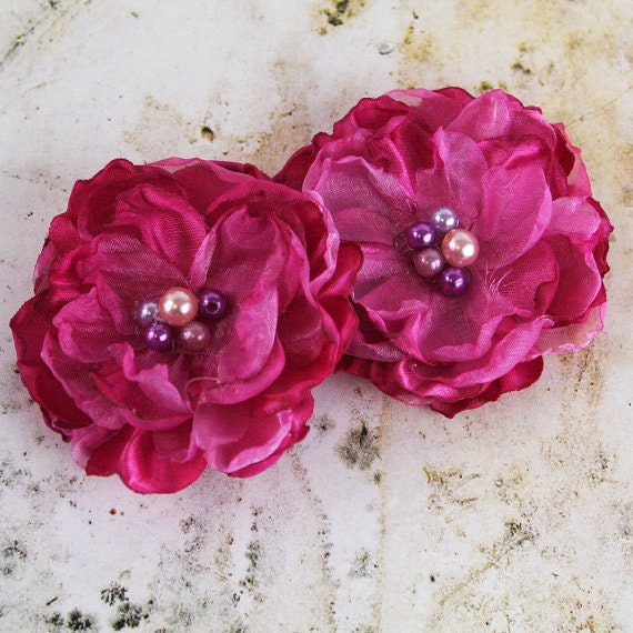 NEW  Fabric Flowers - Dark Pink  562014 -   layered fabric flowers with cluster peral embellishment center accent