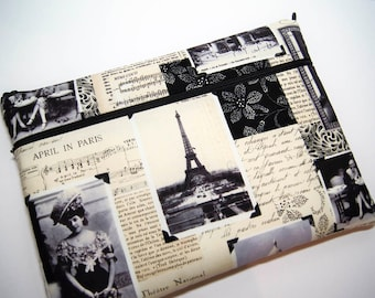 "I Miss You, Paris   15 inch  Macbook  Pro Laptop  or Any Your Laptop or Notebook up 17"" sleeve cover with Big POCKET  Made to Order case"