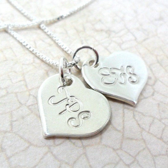 Monogram Necklace | Monogram Jewelry | Script Monogram | Monogram Heart | Engraved Initials | Initial Jewelry | Heart with Initials