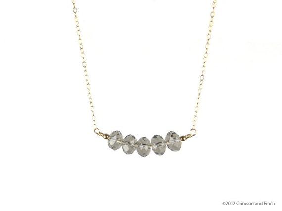 "14kt GF Grey Smokey quartz ""Viola Grey"" Necklace / Earring Set."