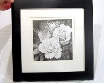 "FRAMED ORIGINAL Drawing, 12x12"", Rose, Bouqet, Flowers, Black and White, Woman, Mother's Day, Birthday Gift, Anniversary Gift, Black Frame"