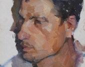 KAMAZ Driver. Portrait od a soviet worker 1962 Original oil painting on cardboard by russian artist