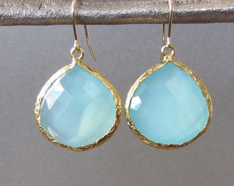 Gold Teardrop Aqua Chalcedony Earrings