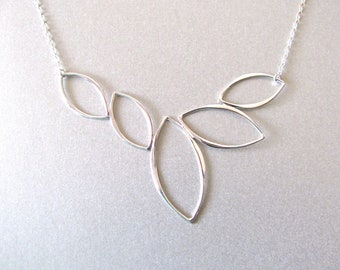 Silver Marquise Link Necklace