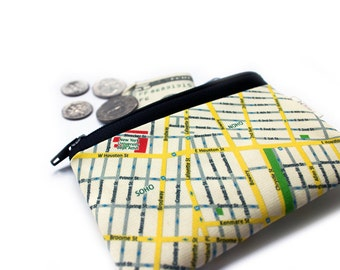 New York Map coin purse zipper pouch, Free shipping, gift idea, for her, for him, Christmas gift