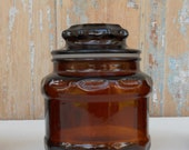 Small Brown Pressed Glass Apothecary Jar