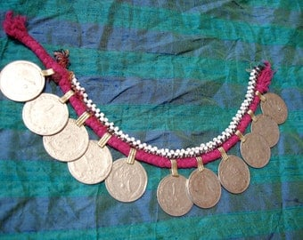 Kuchi bead  string with large coins