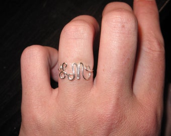 Wire Wrapped Your INITIALS Ring MADE to ORDER