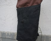 Backpack, waxed canvas black backpack, day bag