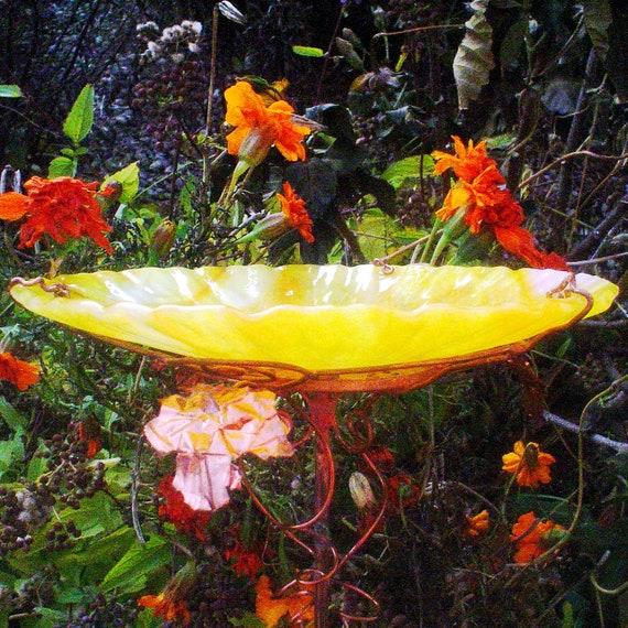 Orange Yellow BIRD BATH, Housewarming Gift, stained glass, copper, bird feeder, Garden gift, suncatcher
