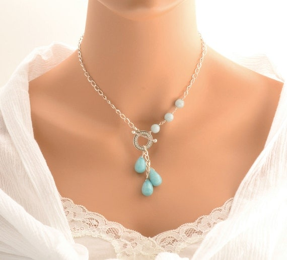 Blue Chalcedony Teardrop Necklace with Aquamarine Beads - Gift - Lariat Style - Argentium Sterling Silver -