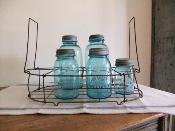 Metal Wire Carrier Canning Jars Milk Bottles