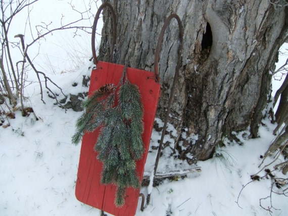 Primitive Antique Snow Sled Red Handmade Christmas and Winter Decor