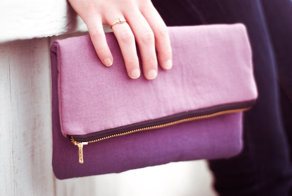 Plum purple ombre foldover clutch