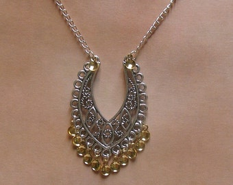 Elina - Traditional Norwegian Filigree Solje Style Necklace with 13 golden drops